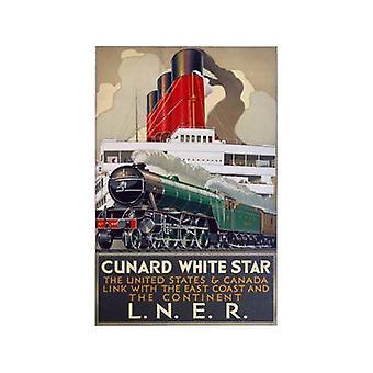 Cunard White Star (antiguo ferrocarril Ad.) Imán de nevera