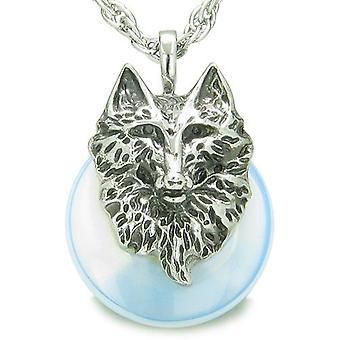 Amulet ulv hoved mod beskyttelse beføjelser heldig doughnut Opalite vedhæng halskæde