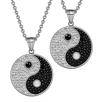 Yin Yang Love Couples Best Friends Amulets Crystals Simulated Onyx White Cats Eye Necklaces