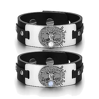 Tree of Life Celtic Powers Love Couples White Sky Blue Simulated Cats Eye Black Leather Bracelets