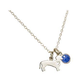 GEMSHINE Dachshund pendant with blue Sapphire gemstone. Solid 925, gold plated high quality or 45cm necklace. For pet owner, mistress - made in Spain