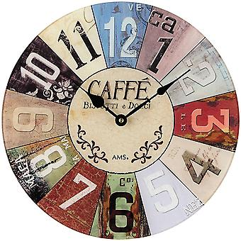 Vintage colorful quartz wall clock wall clock quartz printed mineral glass