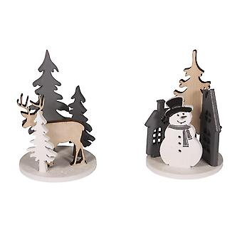 Craft Kit to Create 2 Mini Wooden Christmas Scenes | Wooden Christmas Shapes