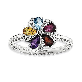 2.25mm 925 Sterling Silver Polished Prong set Rhodium-plated Stackable Expressions Gemstone and Diamond Ring - Ring Size
