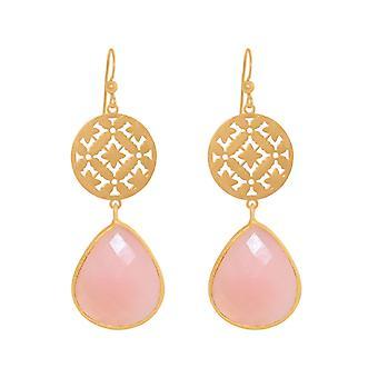 GEMSHINE vrouwen oorbellen mandala's roze oorbellen zilver, verguld of Rose