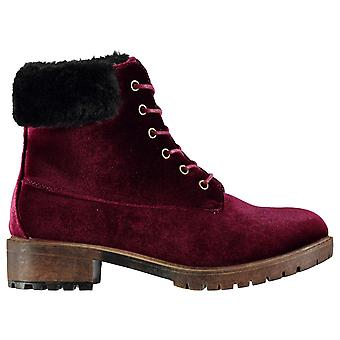 Dolcis Womens Joan Boots Flat Ankle Lace Up Faux Fur Trim Tonal Stitching