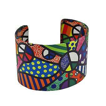 Colorful Paper Artwork Peace Themed Metal Cuff Bracelet