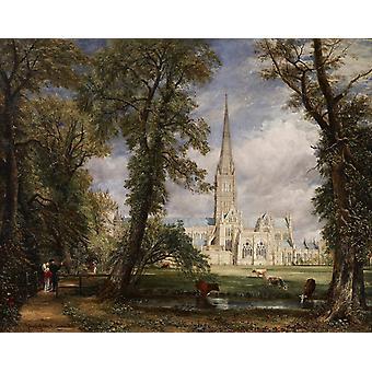 司教のジョン ・ コンスタブル 50x40cm からソールズベリー大聖堂