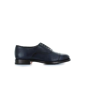 SANTONI BLUE LEATHER OXFORD LACE UP