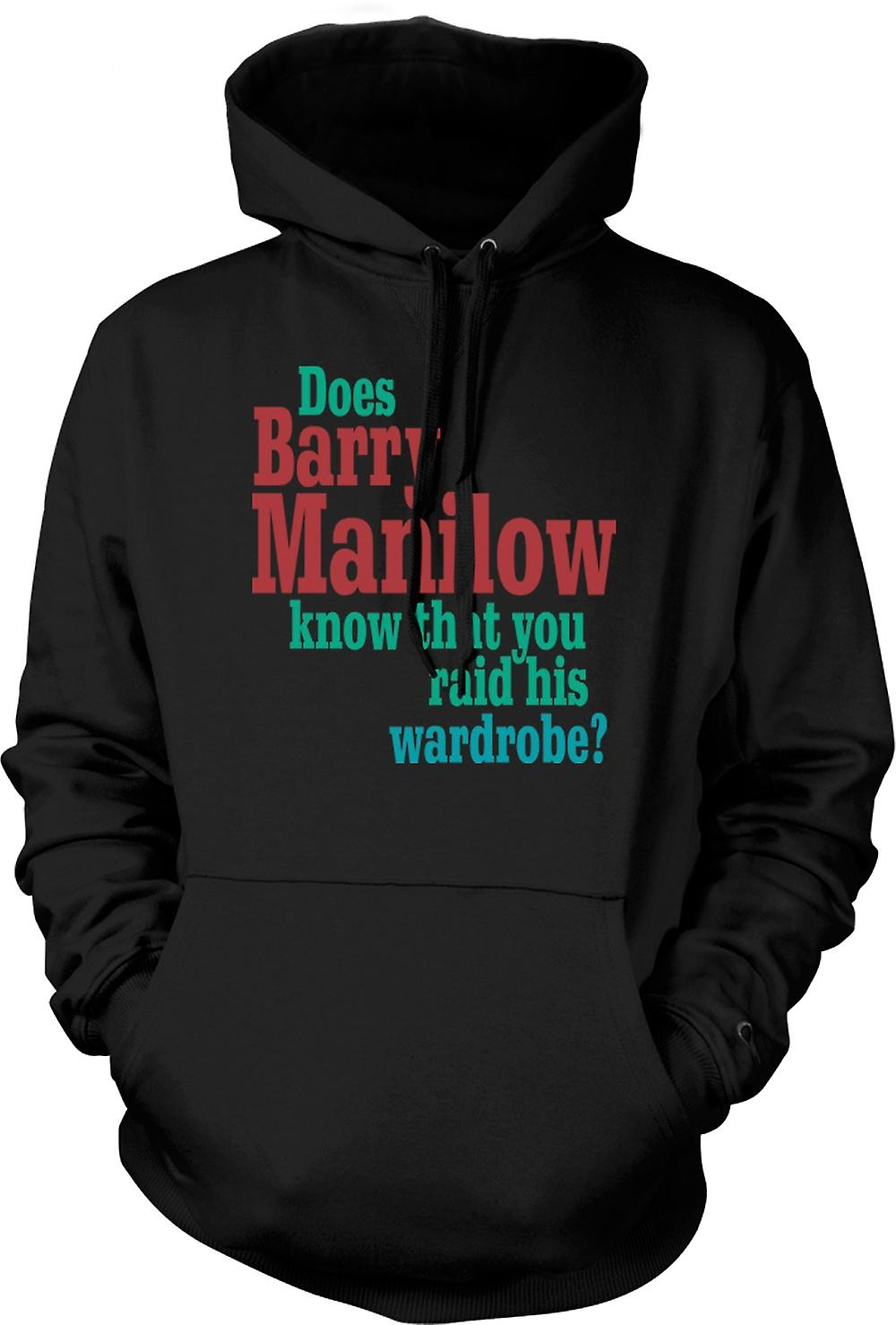 Mens Hoodie - Does Barry Manilow Know - Funny Quote