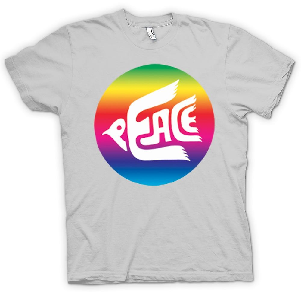 Mens T-shirt - Peace Rainbow Dove Logo