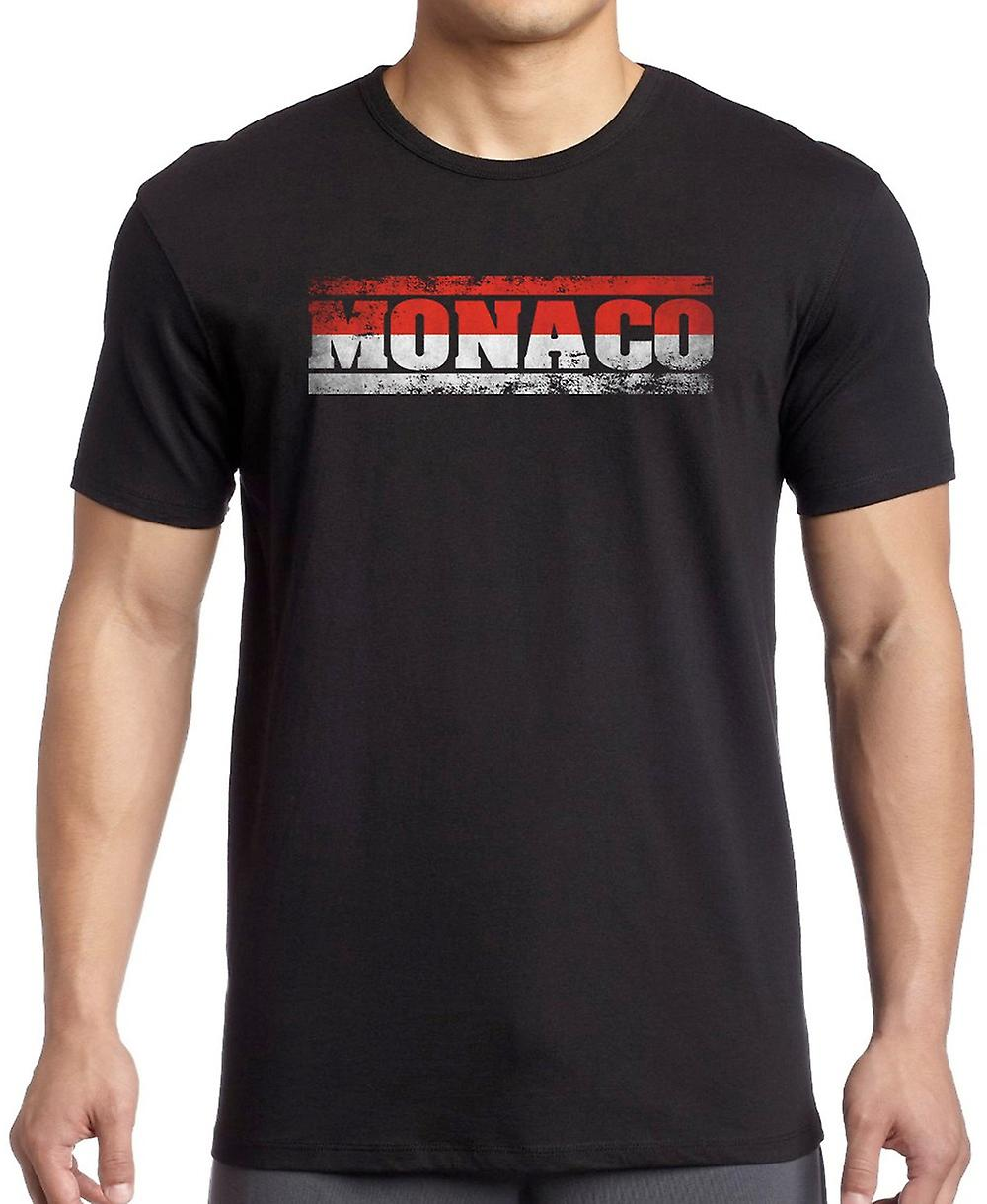 Monaco Flag - Words T Shirt