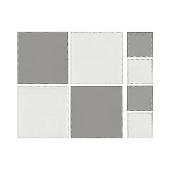 iStyle Square Reversible White and Grey Placemats and Coasters Set of 4