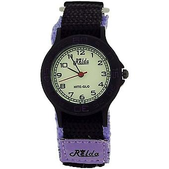 Relda Nite-Glo Quartz Luminous Dial Purple & Black Easy Fasten Girls Watch REL58