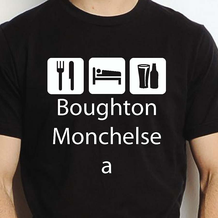 Eat Sleep Drink Boughtonmonchelsea Black Hand Printed T shirt Boughtonmonchelsea Town