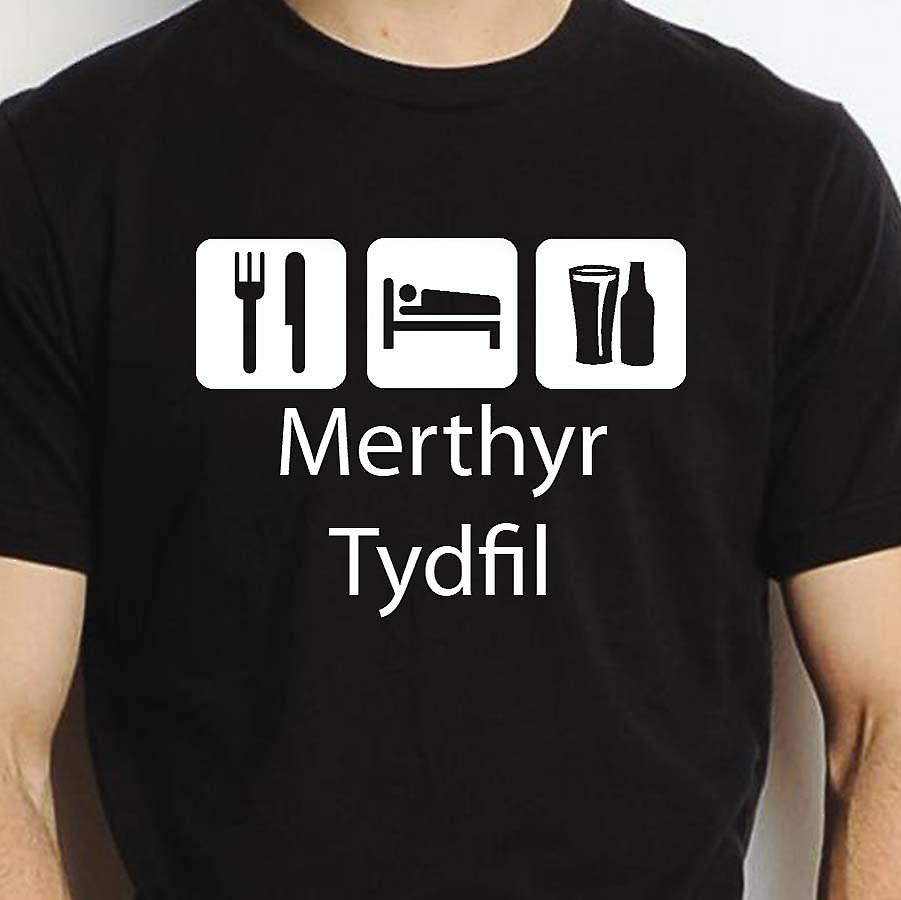Eat Sleep Drink Merthyrtydfil Black Hand Printed T shirt Merthyrtydfil Town