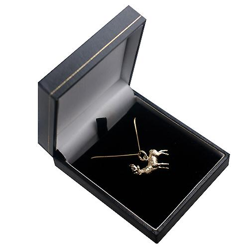 9ct Gold 23x25mm solid Stag Pendant with a curb Chain 16 inches Only Suitable for Children