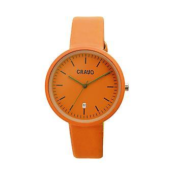 Crayo Easy Leather-Band Unisex Watch w/ Date - Orange