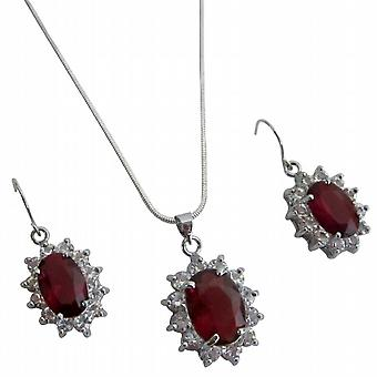 Red Oval Pendant Earrings Set Silver Casting Holiday Gift In Gift Box