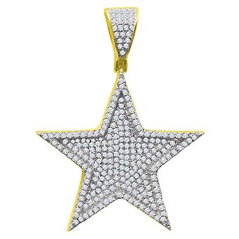 925 sterling silver micro pave pendants - gold STAR