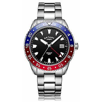 Rotary   Gents Stainless Steel Bracelet   Black Dial   GB05108/30 Watch