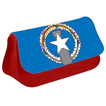 Northern Mariana Islands Flag Printed Design Pencil Case for Stationary/Cosmetic - 0227 (Red) by i-Tronixs