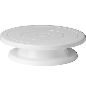 プラスチック循環 28 cm/11 インチ ケーキを飾るのターン テーブル ・ ホワイト