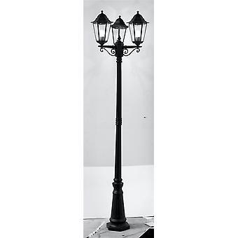 Alex Black 3 światła Lamp odkryty Post - Searchlight 82540BK