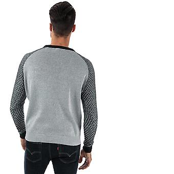 Mens Ringspun Colombia Raglan Crew Knit In Grey Blue- Ribbed Collar, Cuffs And
