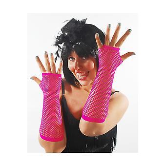 Guantes malla guantes brillante color de rosa