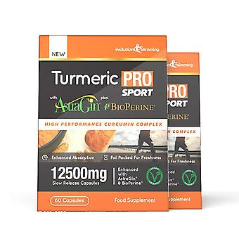 Turmeric Pro SPORT with AstraGin plus BioPerine 12,500mg 95% Curcuminoids - 120 Capsules (2 Months) - Brain, Heart and Joint Health - Evolution Slimming