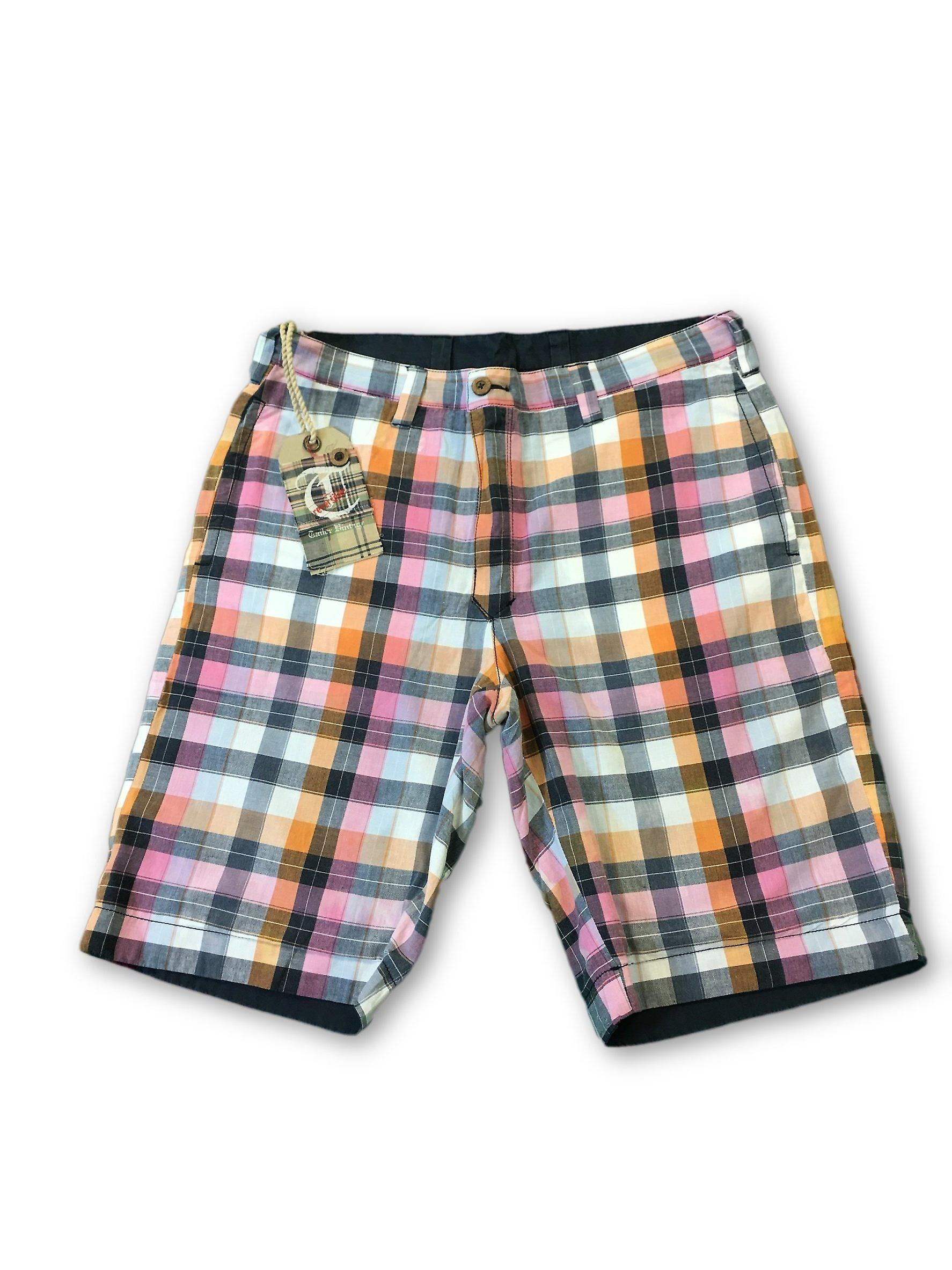 Tailor Vintage reversible shorts in navy multi check