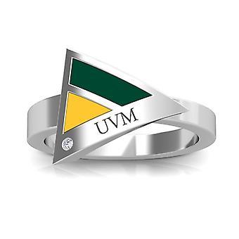 University of Vermont-UVM indgraveret diamant geometrisk ring i grøn og gul