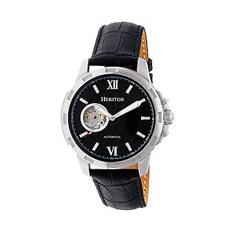 Heritor Automatic Bonavento Semi-Skeleton Leather-Band Watch - Silver/Black