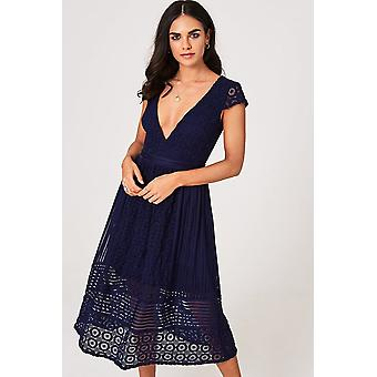 Little Mistress Sacha Navy Crochet Lace Midi Dress