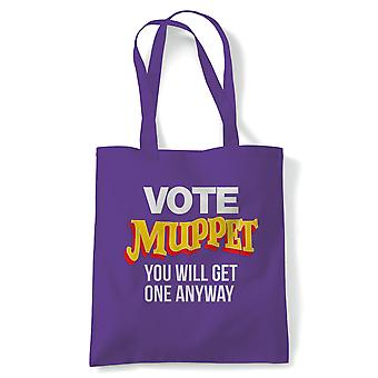 Vote Muppet Political Joke Tote | Humour Laughter Sarcasm Jokes Messing Comedy | Reusable Shopping Cotton Canvas Long Handled Natural Shopper Eco-Friendly Fashion