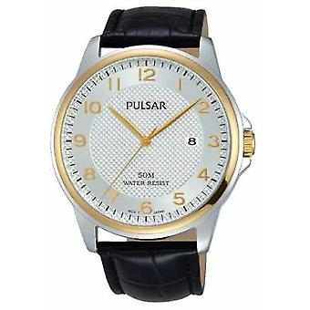 Pulsar Mens Black Leather Strap White Dial PS9444X1 Watch