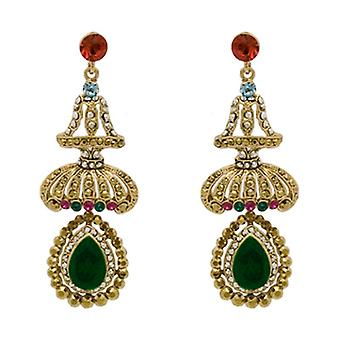 Butler  and  Wilson Emerald Green Crystal Umbrella Drop Earrings