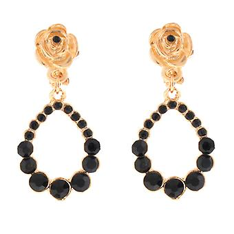 Clip On Earrings Store Gold Rose  and  Black Crystal Tear Drop Hoop Clip On Earrings