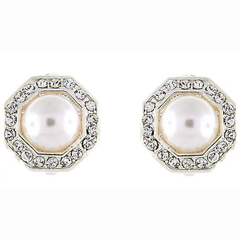 Clip On Earrings Store Silver & Clear Crystal and Ivory Pearl Octagon Clip on Ea