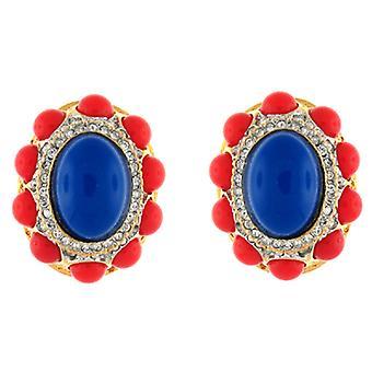 Oro de Kenneth Jay Lane y cristal azul y cabujón Coral luz Clip en pendientes