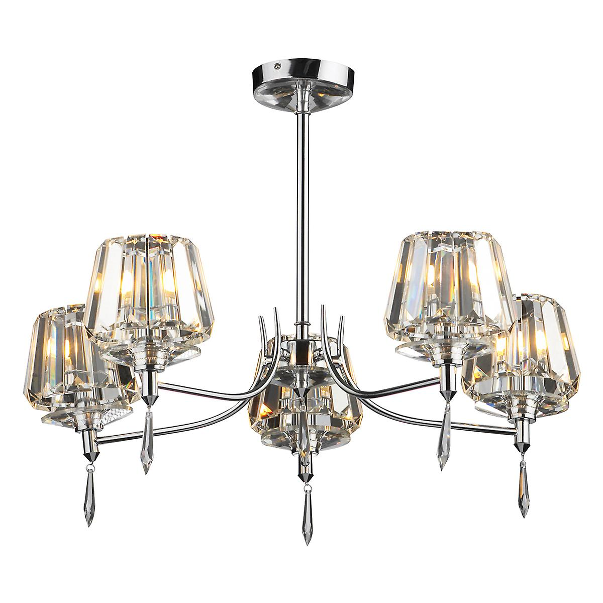 Dar SEL0550 Selina 5 Light Semi-Flush Polished Chrome