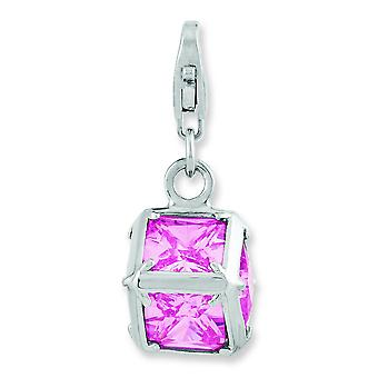 Sterling Silver Rhodium Plated 3-d Pink Cubic Zirconia With Lobster Clasp Charm
