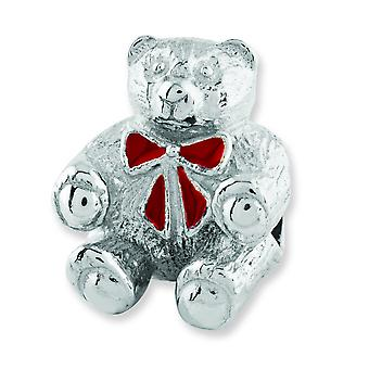 Sterling Silver Antique finish Reflections Bear With Enameled Bow Bead Charm