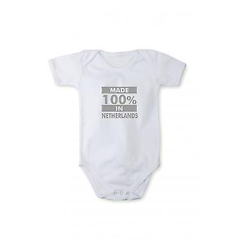 Baby body with shiny silver print made in Netherlands
