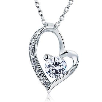 925 Sterling Silver 1 Carat Simulated Diamond Tilted Heart Pendant