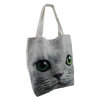 Up Close and Enlarged Green Eyed Cat Face Large Canvas Tote Bag