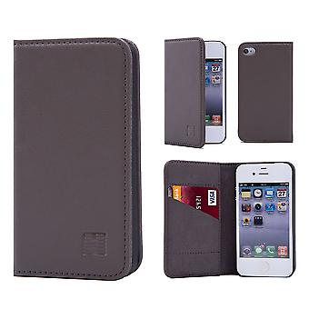 32nd Classic Real Leather Wallet for Apple iPhone 5 5S SE - Elephant Grey