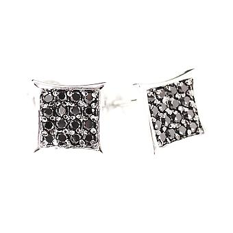 Sterling 925 Silver MICRO PAVE earrings - ICE black 8 mm