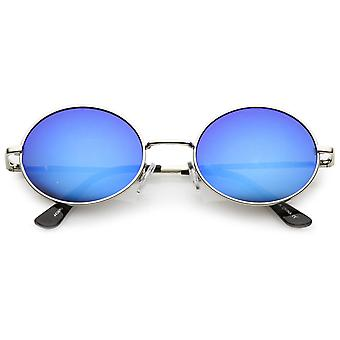 Classic Lightweight Slim Arms Colored Mirror Flat Lens Oval Sunglasses 50mm